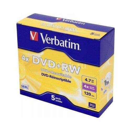 Verbatim Диск DVD+RW Verbatim 4.7Gb 4x Jewel case (5шт) (43229)