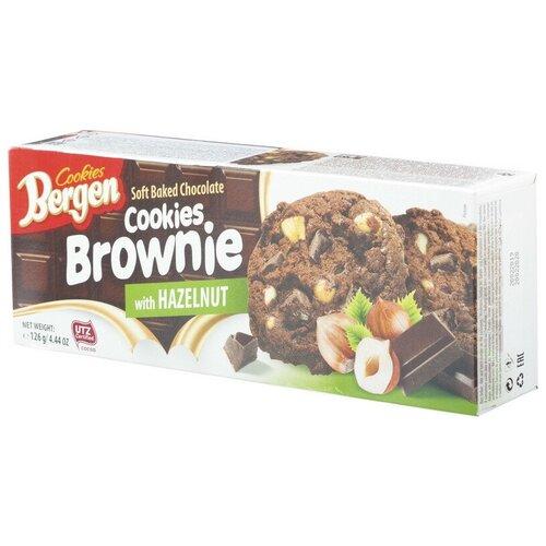 Печенье шоколадное Bergen Брауни с кус.шоколада и лесным орехом, 126г 2 шт.