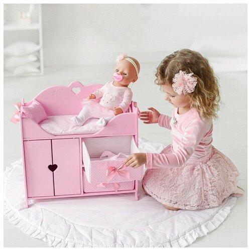 Кровать для кукол с системой хранения, постельным бельем, мягкими корзинами, розовая