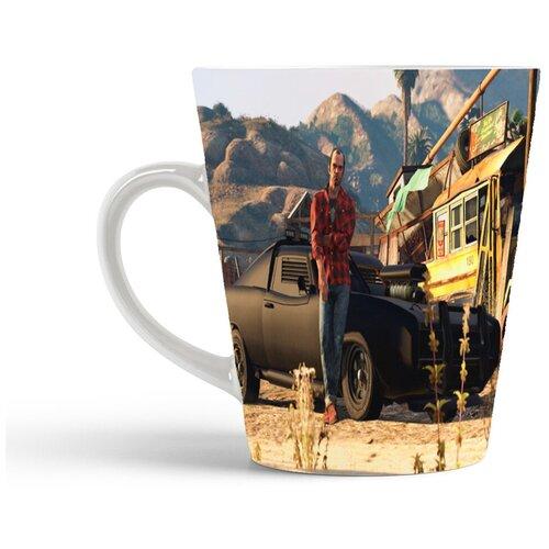 Кружка-латте CoolPodarok Гта Gta Grand theft Auto (мужчина на фоне черной машины)