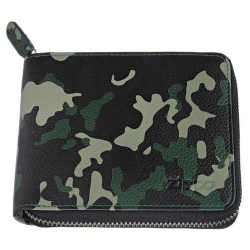 Фото - Zippo Кошелёк ZIPPO, зелёно-чёрный камуфляж, натуральная кожа, 12?2?10,5 см портмоне zippo серо чёрный камуфляж натуральная кожа 11 2x2x8 2 см