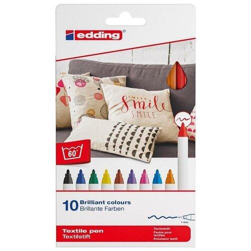 Фломастеры по ткани Edding 4600 10 классических цветов 1 шт.