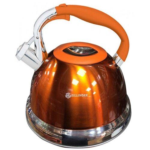 Чайник металлический со свистком ZILLINGER 2.7 л, оранжевый / Универсальный чайник со свистком / Чайник для плиты / Чайник из нержавеющей стали / Чайник для газовой, индукционной плит со свистком