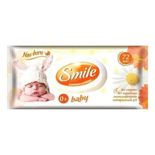 салфетки smile салфетки влажные ромашка и календула new born 72 шт Салфетки влажные Smile Baby New Born. Ромашка + календула (с пластиковым клапаном), 72 штуки
