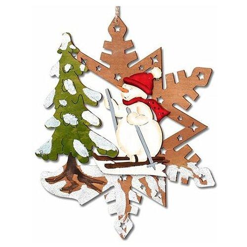Ёлочная игрушка сказочное мгновение - снежинка со снеговичком, дерево, 24 см, Sigro 52-1334-снеговик