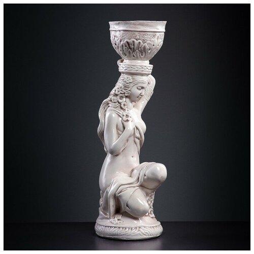 Фигура Девушка сидя кашпо на голове состаренный 64см фигура девушка сидя кашпо на плече бронза 58см 302969