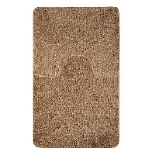 Коврик для ванной комнаты противоскользящий/Прикроватный коврик/Ковер комнатный с ворсом/Коврик резиновый с ворсом /Коврик для туалета/Половик/Коврик для ванной комнаты антискользящий/Нескользящий коврик/Комплект два коврика/Двойной коврик/55Х90 + 45Х55 СМ, коричневый