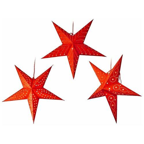 Подвесная светящаяся бумажная звезда плафон, красная, 60 см, Kaemingk 484265