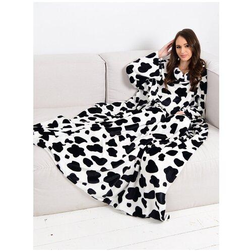 Плюшевый плед, плед с рукавами, плед-халат, плед коровий принт, плед коровий, плед корова, плед 1,5 спальний, плед подарочный