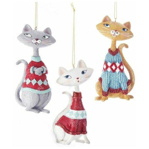 Ёлочная игрушка довольный котик, полистоун, 11 см, разные модели, Kurts Adler