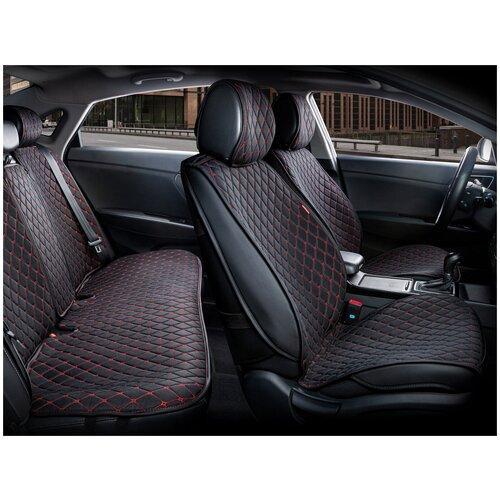 Комплект накидок на автомобильные сиденья CarFashion CROWN черный/черный/красный