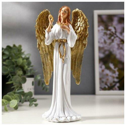 Сувенир полистоун Девушка ангел-хранитель с звездой, с золотыми крыльями 20х9,5х6 см 4838700