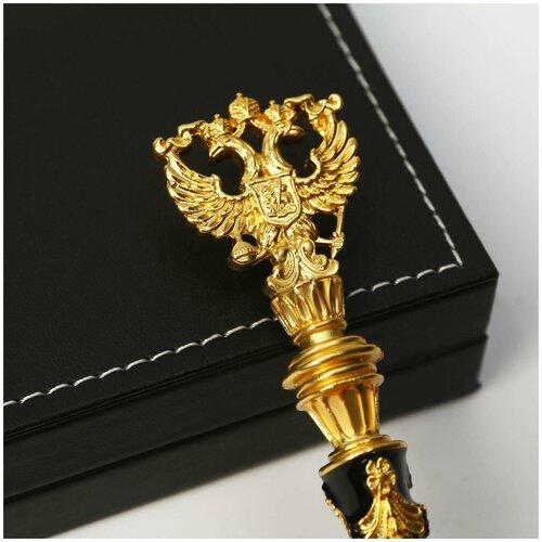 Ручка металл с гербом, цвет черный /школьная канцелярия/подготовка к школе/подарок на 1 сентября/школьные принадлежности