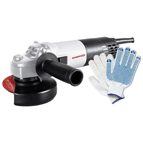 Угловая шлифовальная машина УШМ-125/900 Интерскол + Перчатки хозяйственные с ПВХ (точка)