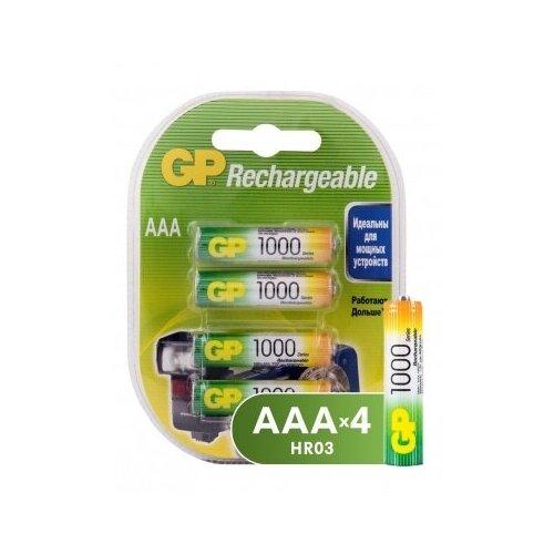 Фото - Аккумуляторная батарейка GP, типоразмера ААА (HR03) 1000 мАч, блистер 4 шт. аккумуляторы gp 1000 мач в комплекте с зарядным устройством адаптером 1а и кабелем