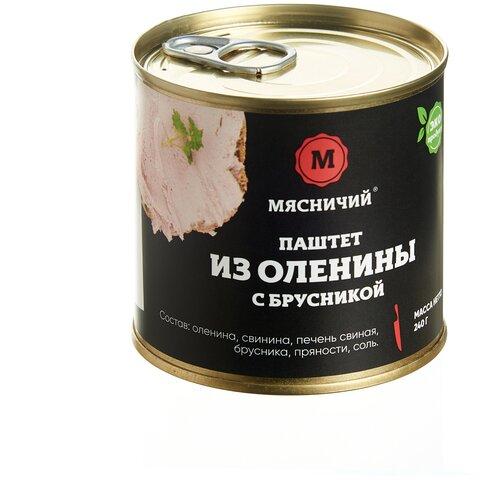 Паштет из оленины с брусникой Мясничий мясные консервы 240 г. ж/б паштет мясничий из баранины с перцем чили мясные консервы 120 г ж б