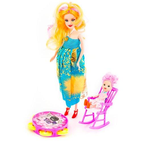 Детская игрушечная беременная гнущаяся кукла со стульчиком, погремушкой и пупсиком / Игрушечная беременная кукла с пупсом и погремушкой / Игрушечная беременна кукла для девочек с пупсом / Беременная кукла со стульчиком и погремушкой / Беременная кукла
