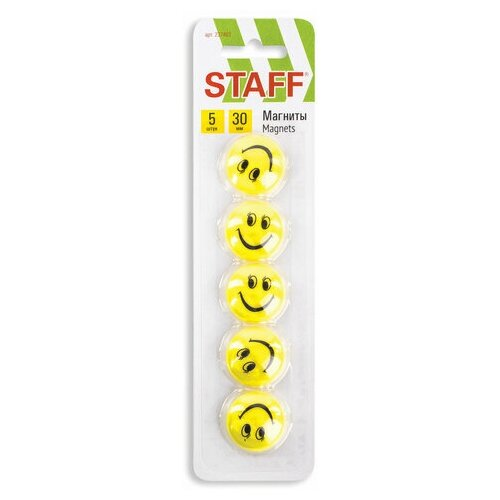 Купить Магнитный держатель для досок Staff Basic Смайлик (d=30мм, круг) желтый, 5шт., 12 уп. (237483), Доски