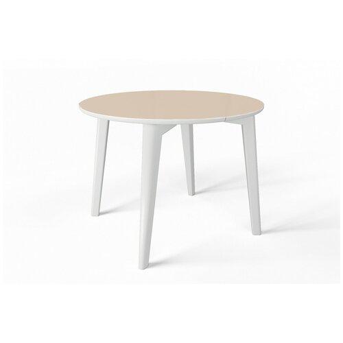 EVITA/Стол оскар стекло капучино,ноги белые/стол на четырёх ногах/стол круглый/стол раздвижной/стол светлый/стол для кухни/стеклянная столешница/стол обеденный/стол бежевый