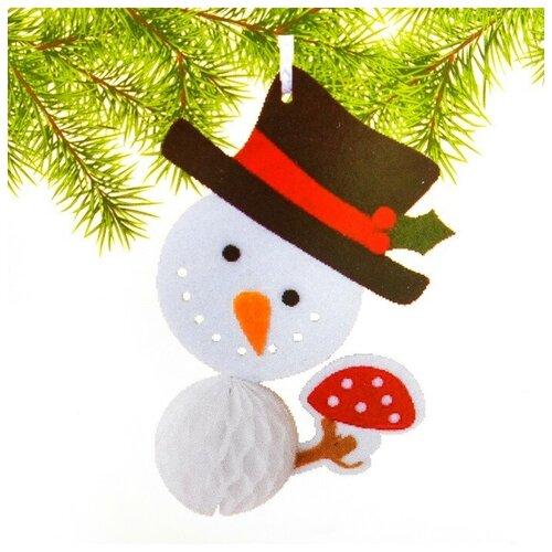 Набор для создания подвесной ёлочной игрушки из фетра и бумаги гофре «Снеговик в шляпе»