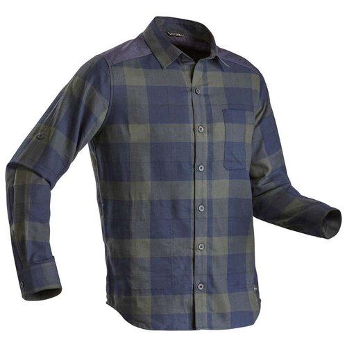 Рубашка для треккинга мужская TRAVEL 100 WARM FORCLAZ Х Декатлон, L RU48-50, цвет: Темно-Зеленый/Асфальтово-Синий