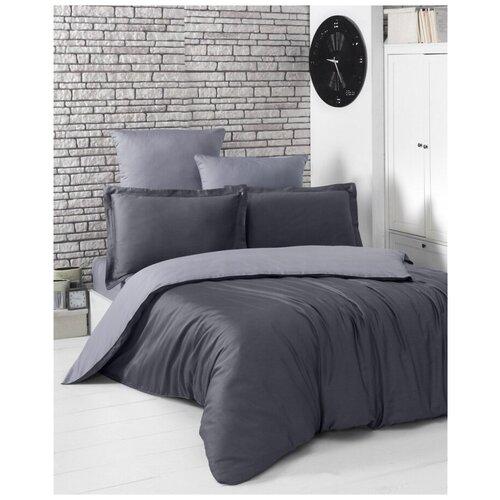 Комплект постельного белья евро (двухстороннее) LOFT (темно-серый - серый) комплект постельного белья karna евро сатин однотонный loft екрю 2986 char003
