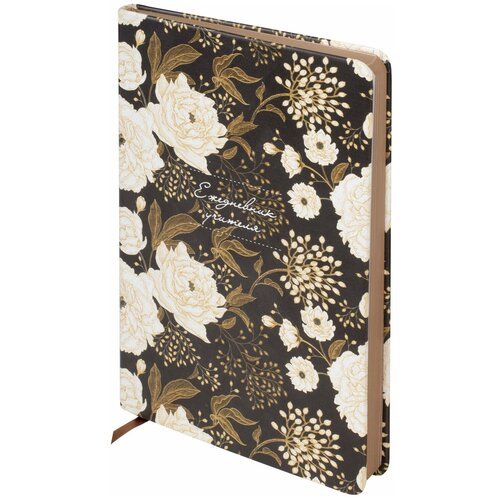 Купить Ежедневник учителя специализированный А5 (215х145 мм) BRAUBERG, 144 л., кожзам, Цветы на черном , 112707, Ежедневники