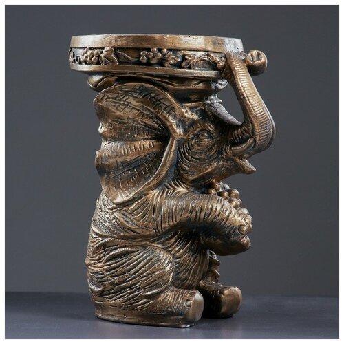Фигура - подставка Слон сидя 34х26х44см, бронза фигура лев сидя с шаром бронза 29х18х45см