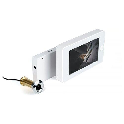 Видеоглазок iHome-GLAZ-М-White (Wi-Fi) - видеоглазок на входную дверь, видеозвонок с датчиком движения, видеоглазок беспроводной комплект