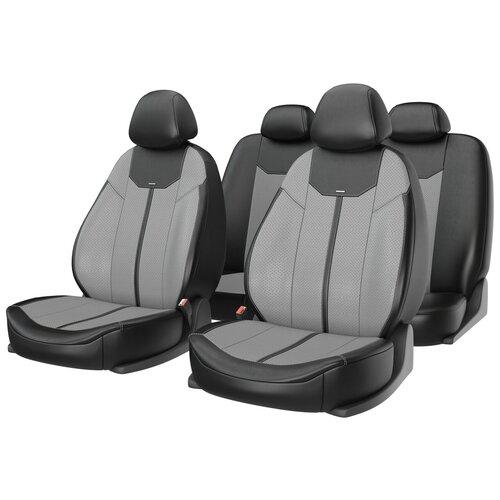 Универсальные чехлы на автомобильные сиденья CarFashion MUSTANG серый/черный/серый