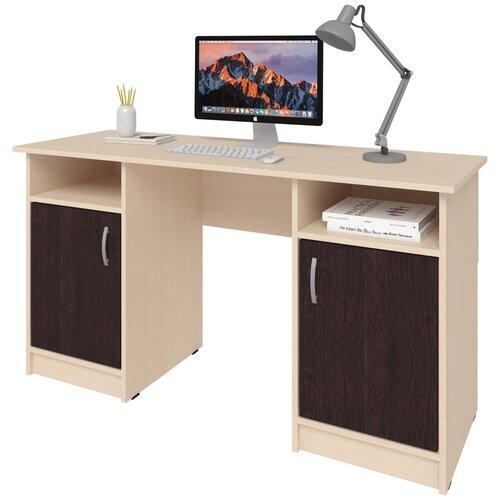 Фото - Письменный стол СитиМебель двухтумбовый, ШхГ: 140х50 см, цвет: дуб молочный/венге цаво письменный стол ситимебель компактный шхг 140х50 см цвет венге цаво