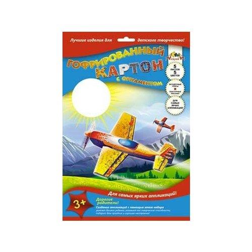 Цветной картон гофрированный с рисунком, А4, 5 листов, 5 цветов,