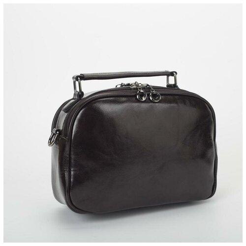 Сумка жен L-021, 23*10*15, 2 отд на молнии, н/карман, длин ремень, коричневый 5501220