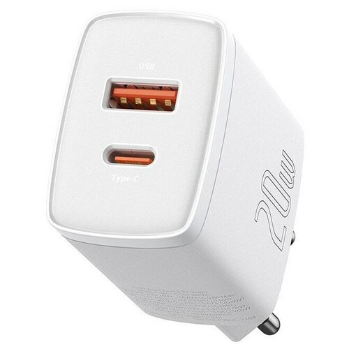 Фото - Зарядное устройство BASEUS Compact Quick Charger USB+Type-C, 3A, 20W, белый (CCXJ-B02) зарядное устройство baseus compact quick charger u c 20w eu black ccxj b01