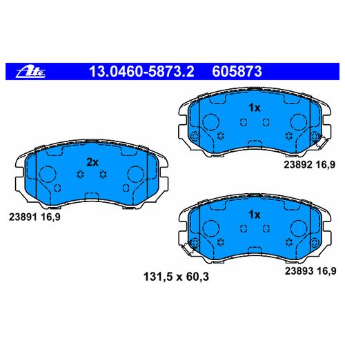 Дисковые тормозные колодки передние ATE 13-0460-5873-2 для Hyundai, Kia (4 шт.)