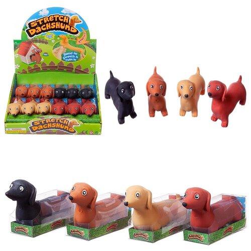 Игрушка-антистресс Junfa Тянучка собака такса 11,5см в индивидуальной коробочке, 4 цвета в ассорт, 12 шт в дисплее - цена за 1 шт.