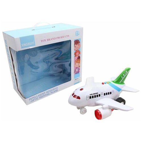 Фото - Самолет инерционный, свет, звук, эл.пит.АА*3шт.не вх.в комплект Shantoy Gepay 6818 вертолет наша игрушка металлический инерционный свет звук 9809