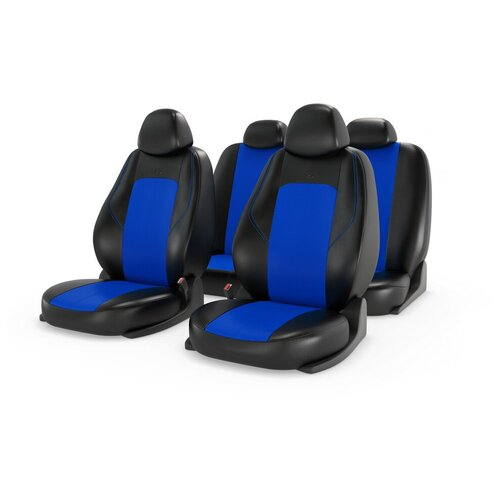 Комплект универсальных чехлов на автомобильные сиденья CarFashion RANGER LEATHER черный/синий/синий