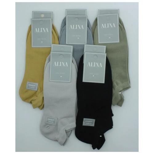 Носки женские Alina 2045 / 10 пар , горчичные, серые, черные, зеленые, синие, размер 37-41