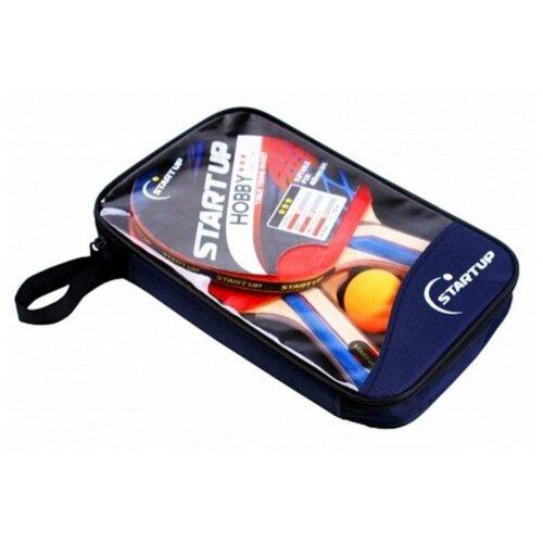 набор для настольного тенниса start up bb01 3 star Набор для настольного тенниса Start Up (2 ракетки и 3 шарика) в чехле