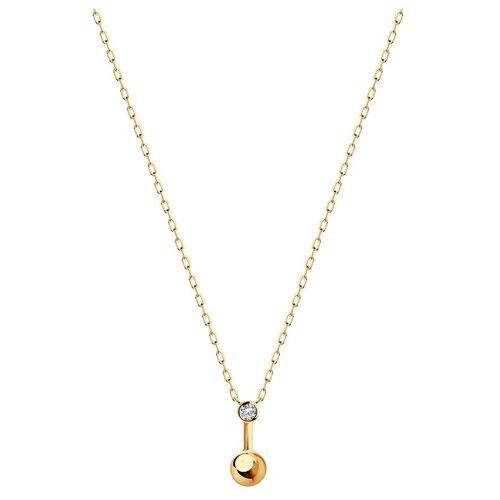 SOKOLOV Колье из золота с фианитом 070511, 50 см, 2.11 г