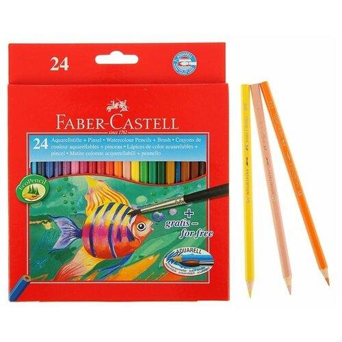 FABER-CASTELL Карандаши акварельные 24 цвета Faber-Castell 1144, шестигранный корпус с кисточкой
