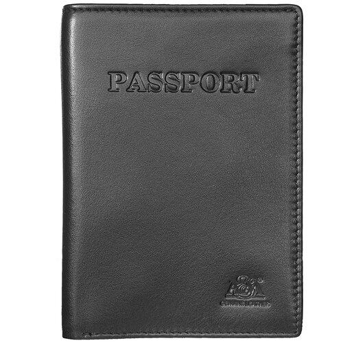 Обложка на паспорт A&M в фирменной подарочной коробке 100% натуральная кожа черный 6116Black