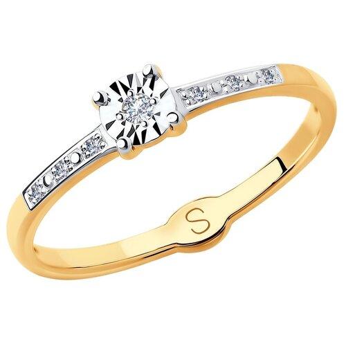 SOKOLOV Кольцо из комбинированного золота с алмазной гранью с бриллиантами 1011713, размер 18