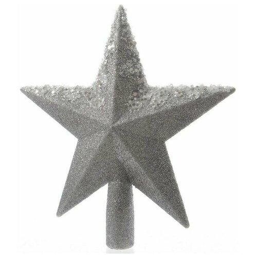 Елочная верхушка звезда серебряная с декором, пластик, глиттер, бисер, 19 см, Kaemingk