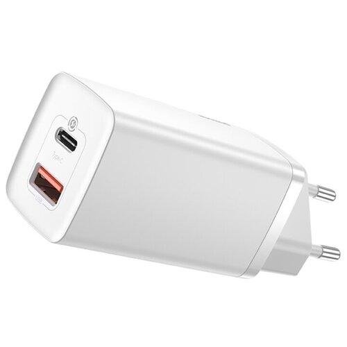 Фото - Сетевое зарядное устройство Baseus GaN2 Lite Quick Charger C+U 65W EU (CCGAN2L-B02) Белое зарядное устройство baseus compact quick charger u c 20w eu black ccxj b01