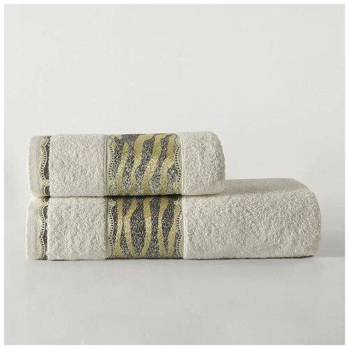 Комплект махровых полотенец Karna Ivory 50х90 и 70х140 см - Кремовый недорого