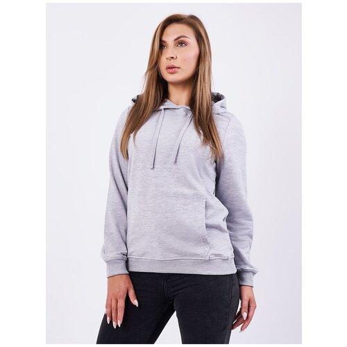 Толстовка женская, карман кенгуру, цвет серый-меланж, размер 44