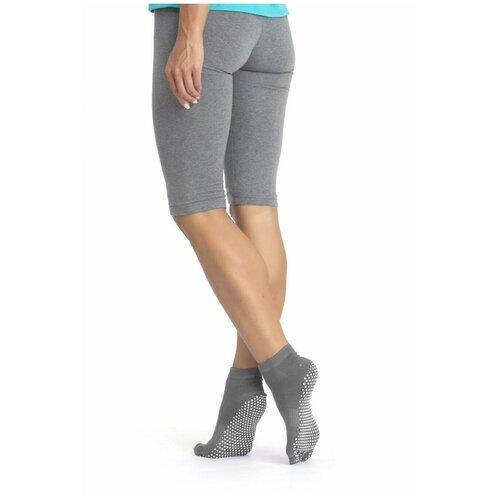 Носки противоскользящие для занятий йогой закрытые, серый