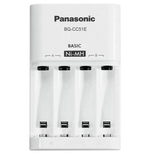 Фото - Зарядное устройство Panasonic Basic (BQ-CC51E) для 2 или 4 аккумуляторов типа АА/ААА Ni-MH, 10 часов зу panasonic basic k kj51mcc04e для 2 или 4 акк аа ааа ni mh 10 часов и 4шт ааа 750 мач